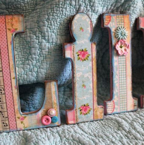 wooden alphabet letters lillian shabby chic vintage wall decor baby girl nursery decor pink