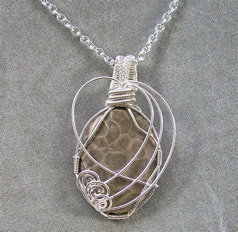 silver wire for jewelry fossil coral and silver wire pendant jewelry by