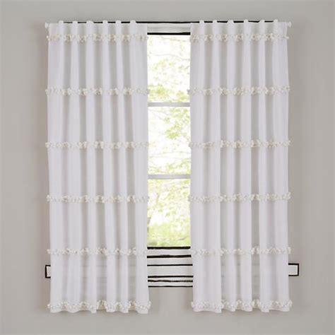 white pom pom curtains poms square white quilt