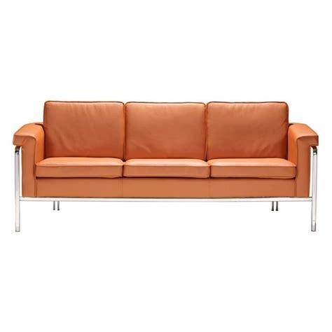 zuo sofa zuo singular modern leatherette sofa in terracota 900168