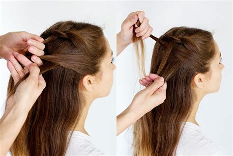 howtodo a twist in thefringe step by step how to style a double waterfall twist a beautiful mess