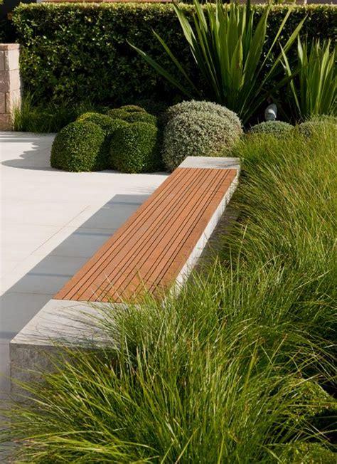 modern patio bench timber bench flush with concrete garden paths patios