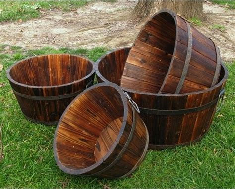 Wood Planter Barrels by Wood Shallow Cedar Barrel Planters Set Of 4