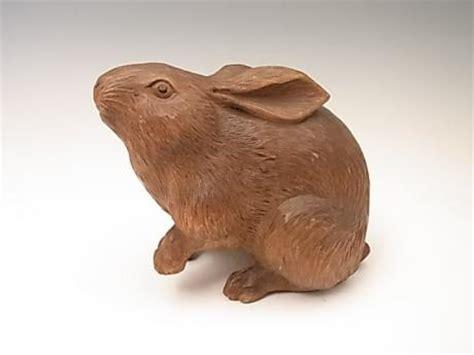 rabbit in woodworking japanese okimono wood metal treasure box