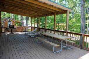 Lake Cabin Plans covered deck of rudolph s christmas cabin at lake rudolph
