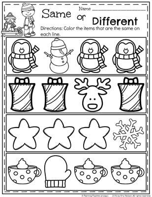 Same And Different Worksheets For Preschool by December Preschool Worksheets Worksheets December And Free