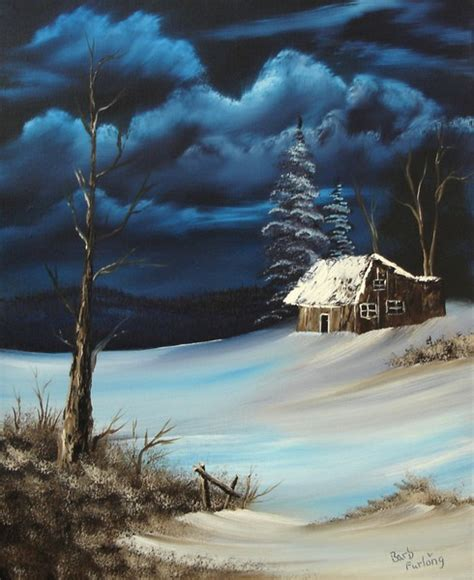 bob ross painting log cabins snowbound cabin 254 by barbara furlong artwanted