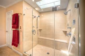 Contemporary bathroom with double shower in reston modern bathroom
