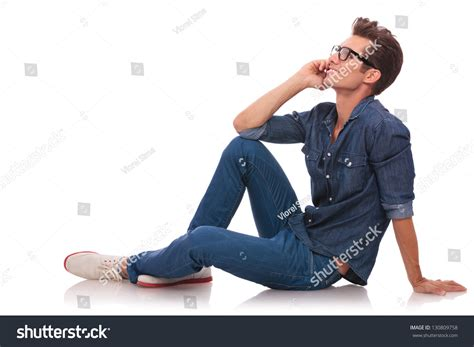 Sitting On The by Side View Casual Sitting Stock Photo 130809758