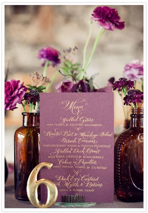 Radiant Orchid Home Decor by Vintage Plum Gold Wedding Inspiration Wedding