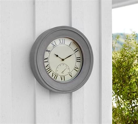 patio clock and thermometer outdoor concrete clock thermometer pottery barn