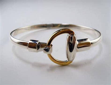 two tone half snaffle bit bangle bracelet in sterling