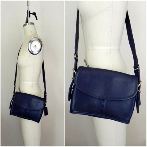 Coach Navy Blue Crossbody vintage 1970s navy blue crossbody coach from vintageworldrocks