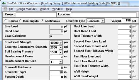 Floor Load Calculator by Footing Design 187 Strucalc