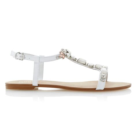 white dressy sandals dune khloe t bar embellished leather strappy flat sandals