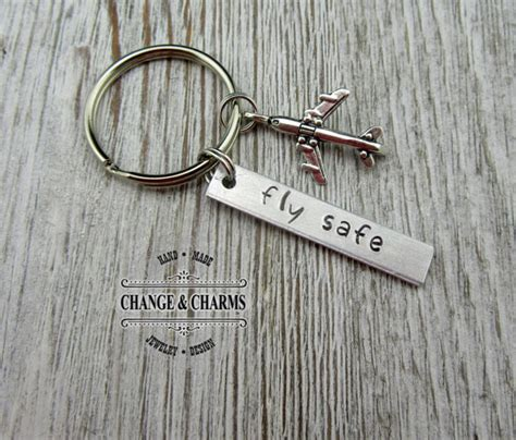 fly safe keychain pilot gift airplane keychain airplane