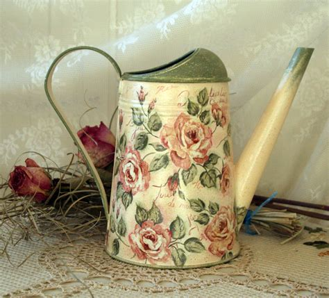 vintage style shabby chic watering can tea rose by decodvorik