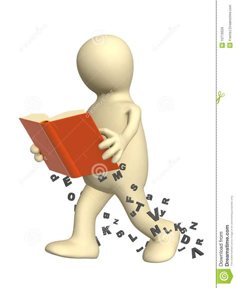 imagenes en movimiento de libros 3d puppet reading the book on the move stock illustration