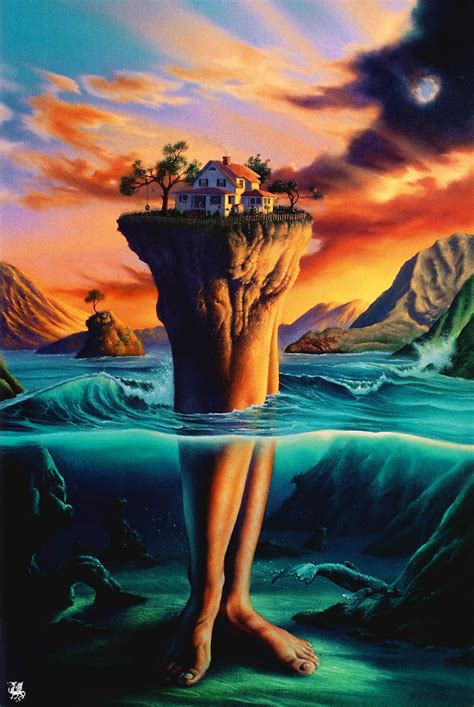 unique painting trippy fantasy island painting coolartpage com cool