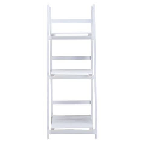 3 tier white leaning ladder wall bookcase shelf storage