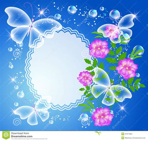 Hermosa Photo Frame Minimalis5r Blue background with frame flowers and butterfly stock vector