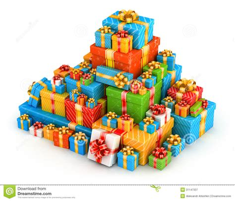 Wonderful Small Christmas Boxes #7: Gift-boxes-pyramid-pile-colored-gifts-gold-ribbons-31147337.jpg