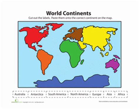 printable world map for kindergarten label the continents worksheet education com