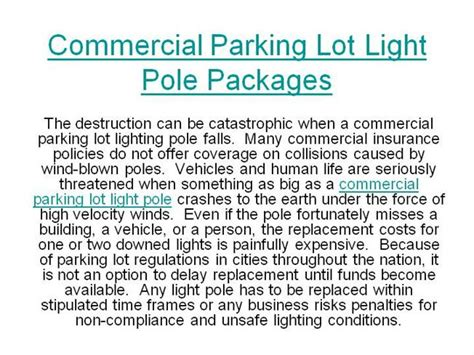 commercial parking lot light pole packages commercial parking lot light pole packages authorstream