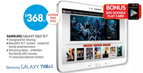 big w samsung tablet deal buy a samsung galaxy tab 3 10 1 from big w and get a 50 play gift card ausdroid