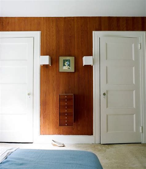 wood paneling white trim  doors  house pinterest