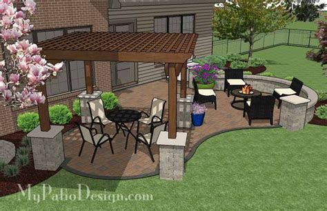 patio layouts backyard patio design with pergola fire pit area and seating wall plan no 1140rr download