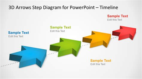 4 Milestones Timeline Template With 3d Arrows In Powerpoint Slidemodel Arrow Powerpoint Template