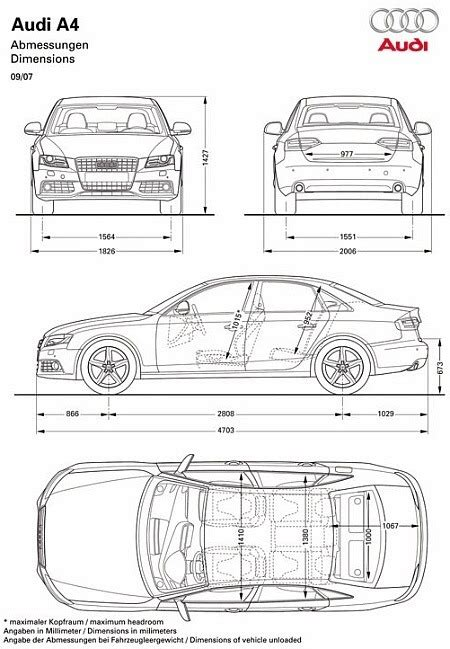 Audi A4 2002 Dimensions by What Are The Dimensions Of An Audi A4