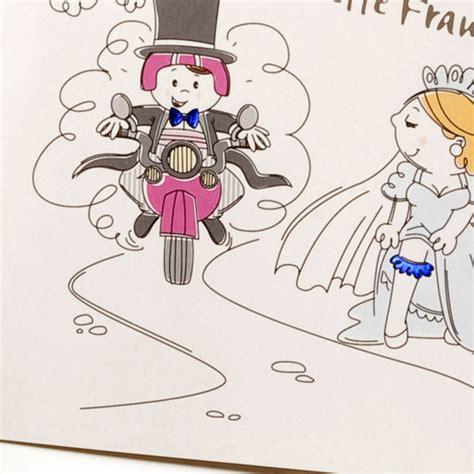 Motorrad Spr Che Hochzeit by Hochzeitskarte Ba722095 Motorrad Comic Braut Strumpfband