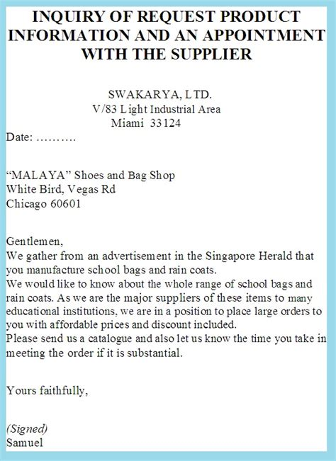 Inquiry Letter Asking For General Information Product Information Business Letter Exles