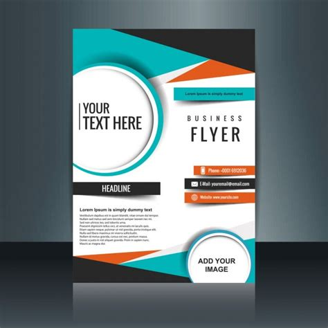 business flyer template with geometric shapes vector