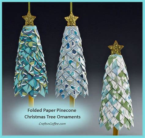 diy folded paper pinecone tree ornaments paper