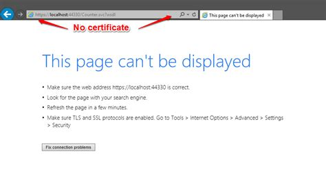 that page can t be wcf with ssl doesn t use any certifacte and fails stack overflow