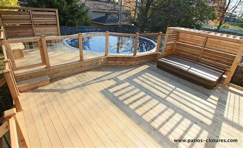 patio piscine deck around above ground pool with integrated tub and
