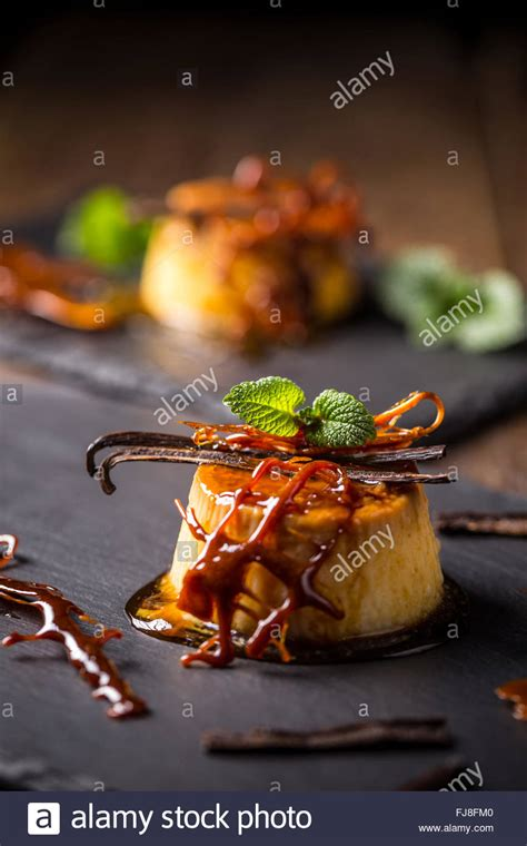 Caramel Decoration by Caramel Pudding With Vanilla Mint And Caramel Decoration
