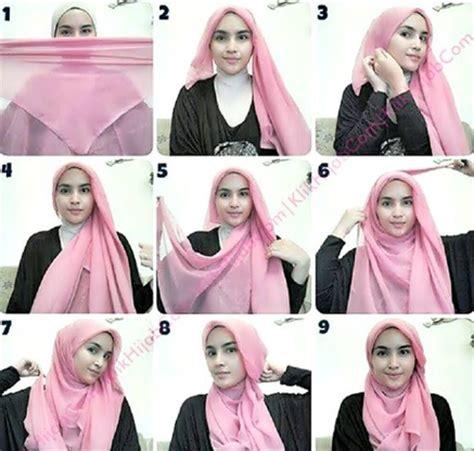 tutorial jilbab pashmina untuk pemula cara memakai jilbab segi empat untuk sekolah