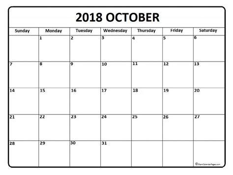 2018 October Calendar October 2018 Calendar October 2018 Calendar Printable