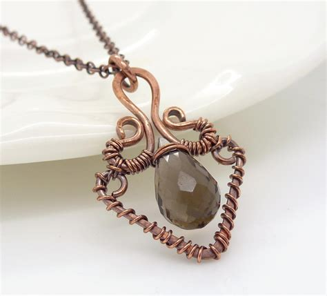 what wire to use for jewelry copper necklace smoky quartz necklace wire wrapped necklace