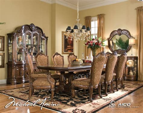 Michael Amini Dining Room Set Michael Amini Court Fruitwood Traditional Rect Table Dining Set By Aico