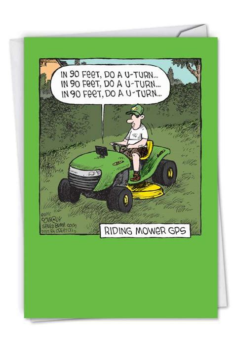 mower gps funny fathers day card nobleworkscardscom
