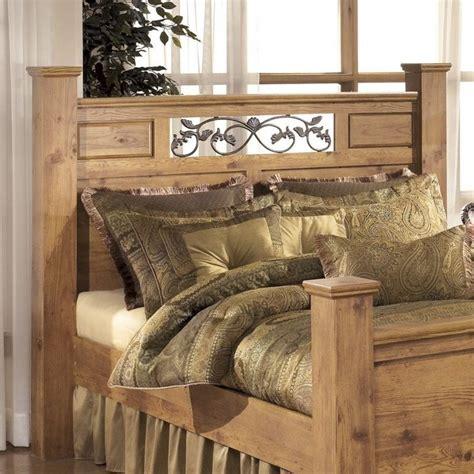 ashley bittersweet wood queen poster panel headboard  light brown    kit