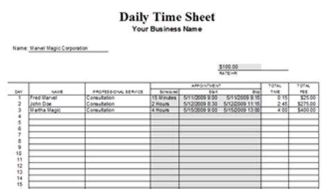 formsfroms daily time card template timesheet template