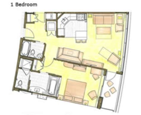 bay lake tower one bedroom villa floor plan bay lake tower