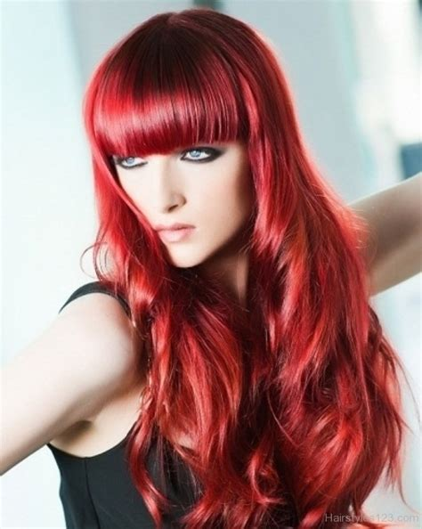 hairstyles red long layered hair with bangs
