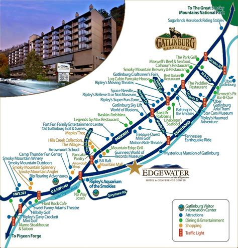 Tennessee Map Gatlinburg by Downtown Gatlinburg Hotels Motels Downtown Gatlinburg
